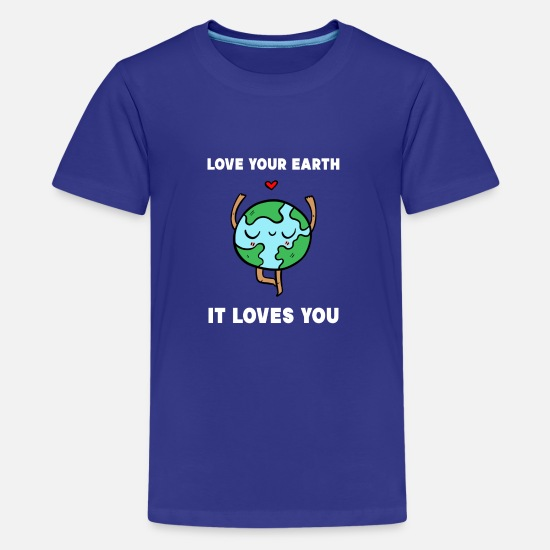 Milieu T-shirts - Earth World Planet Environment Nature Conservation Gift - Teenager premium T-shirt koningsblauw