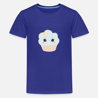 Beady Eyes Cute muffin with ribbon button eyes gift - Teenage Premium T-Shirt