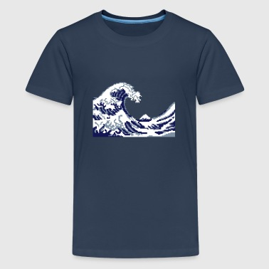 Hokusai the great Wave 8bits - Teenage Premium T-Shirt