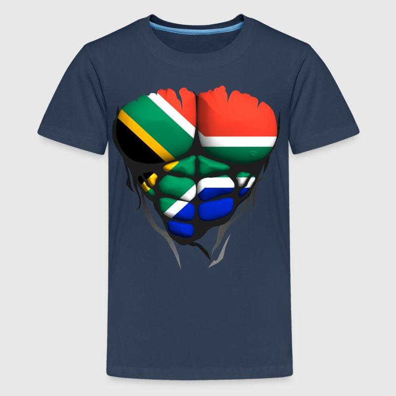 South Africa flag torso body muscle abdos - Teenage Premium T-Shirt
