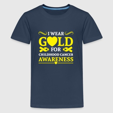 I wear Gold for childhood cancer awareness - Teenage Premium T-Shirt