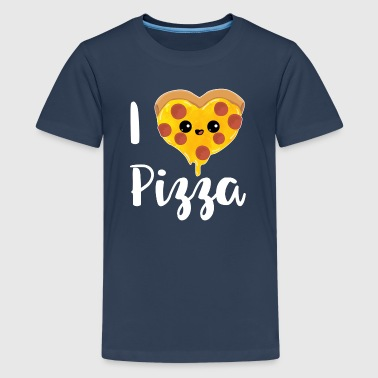 I love pizza - salami heart cheese gift child - Teenage Premium T-Shirt