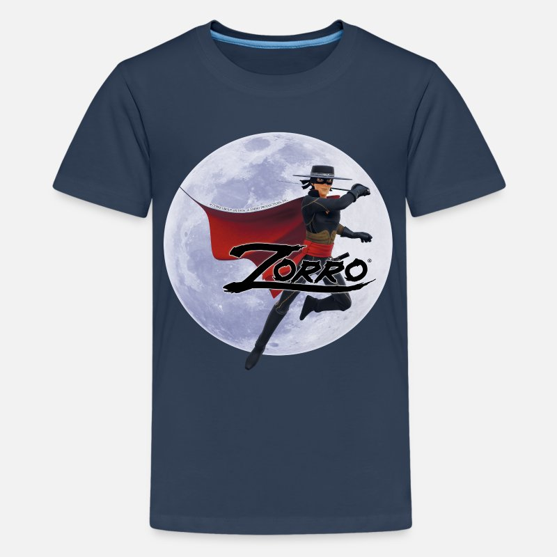 Zorro T-Shirts - Zorro The Chronicles At Full Moon - Teenage Premium T-Shirt navy
