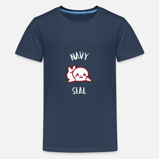 Navy T-Shirts - Little Seal - Manga Kawaii Seal - Teenage Premium T-Shirt navy