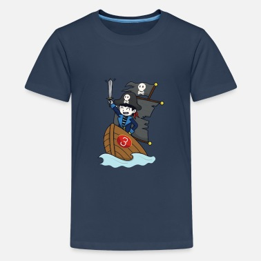 Pirate on pirate ship - number 3rd birthday - Teenage Premium T-Shirt