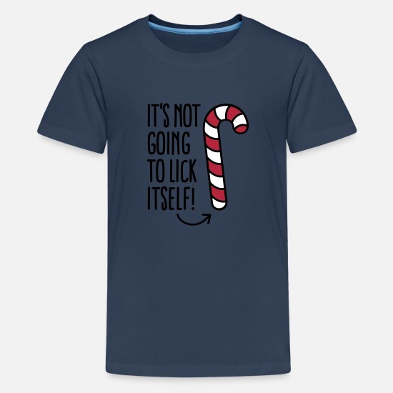 Jul T-shirts - It's not going to lick itself (candy cane) - Premium T-shirt teenager marineblå