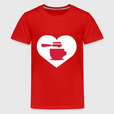 Coffee heart Long Sleeve Shirts - Teenage Premium T-Shirt