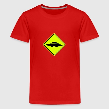 ufo road sign - Teenage Premium T-Shirt
