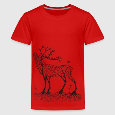 Wald-Hirsch in schwarz - Teenager Premium T-Shirt