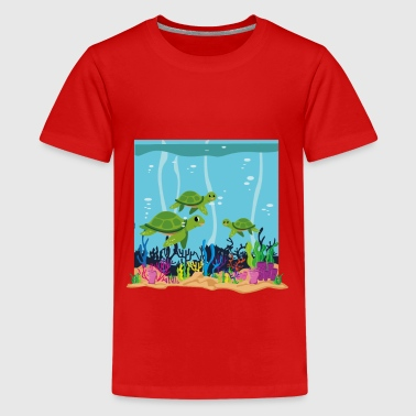 Aquarium turtle fish kids shirt - Teenage Premium T-Shirt