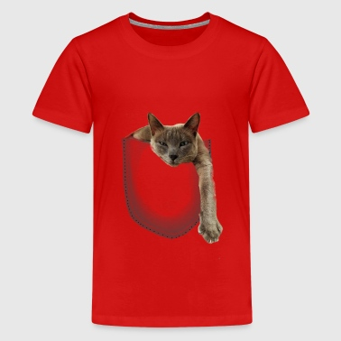 Cat looks out of hiding - Teenage Premium T-Shirt