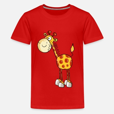 Cartoon Giraffes Funny Giraffe - Giraffes - Cartoon - Animal - Teenage Premium T-Shirt
