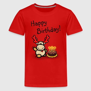 Elch Elmondo wünscht Happy Birthday! - Teenager Premium T-Shirt