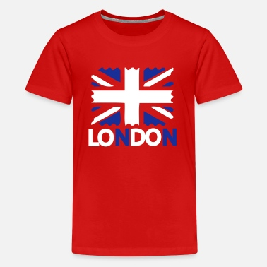 London Kids LONDON  text UK Flag - Teenage Premium T-Shirt