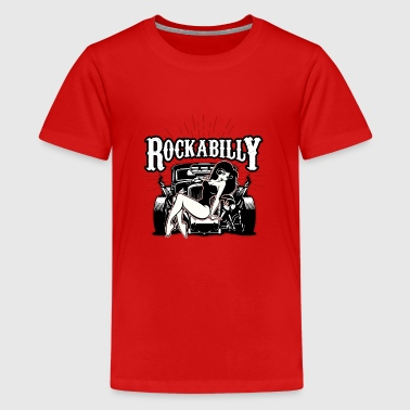 Pin-up meisje Hot Rod Rock Roll muziek cadeau idee - Teenager Premium T-shirt