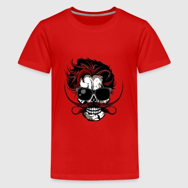 head of death mustache hipster mustachioed bezel - Teenage Premium T-Shirt