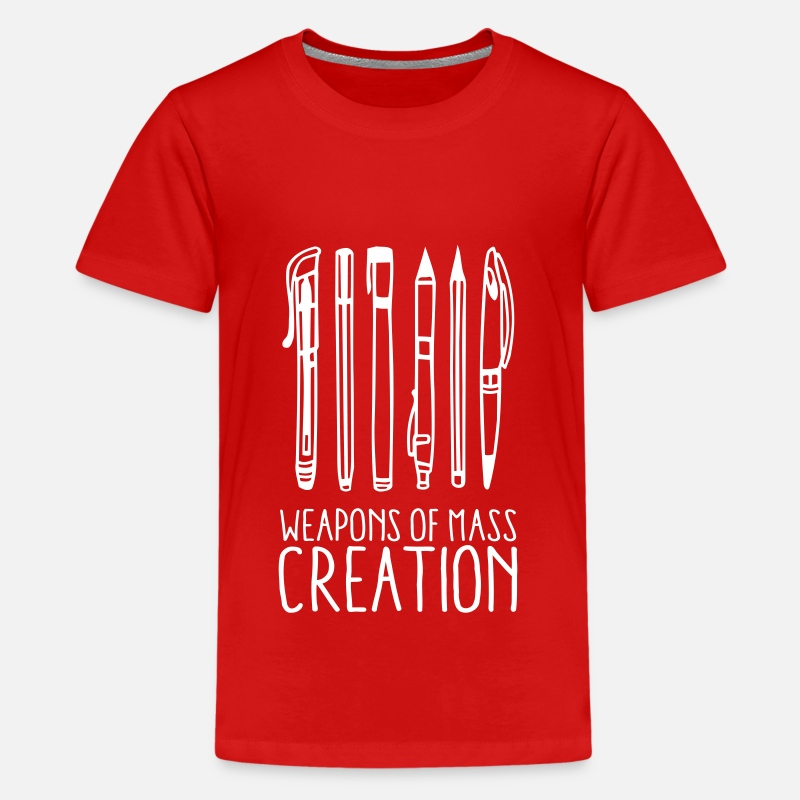 Draw T-Shirts - Weapons of mass creation (1c) - Teenage Premium T-Shirt red