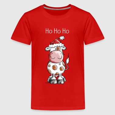Ho Ho Ho Christmas Cow - Gift - Teenage Premium T-Shirt