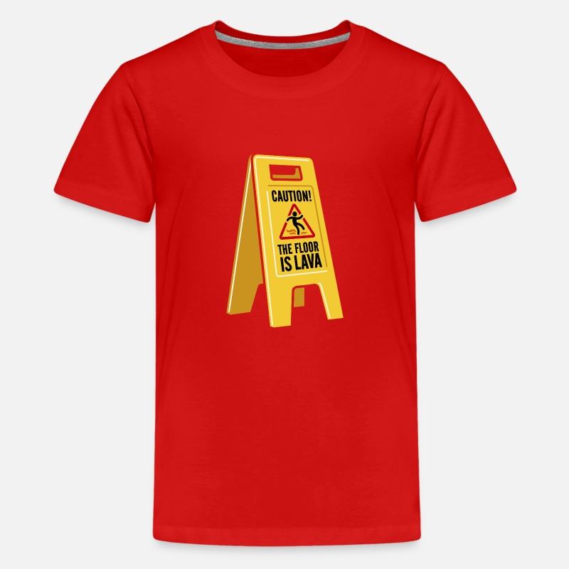 Youtube Camisetas - Caution the floor is lava - Camiseta premium adolescente rojo