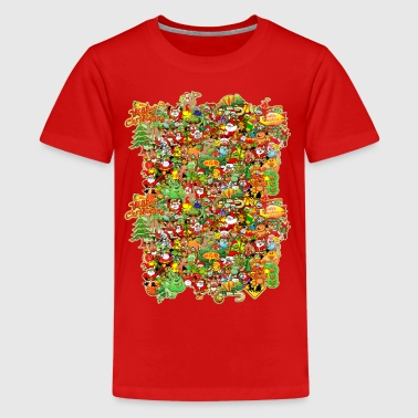 In Christmas Melt into the Crowd and Enjoy - Teenage Premium T-Shirt