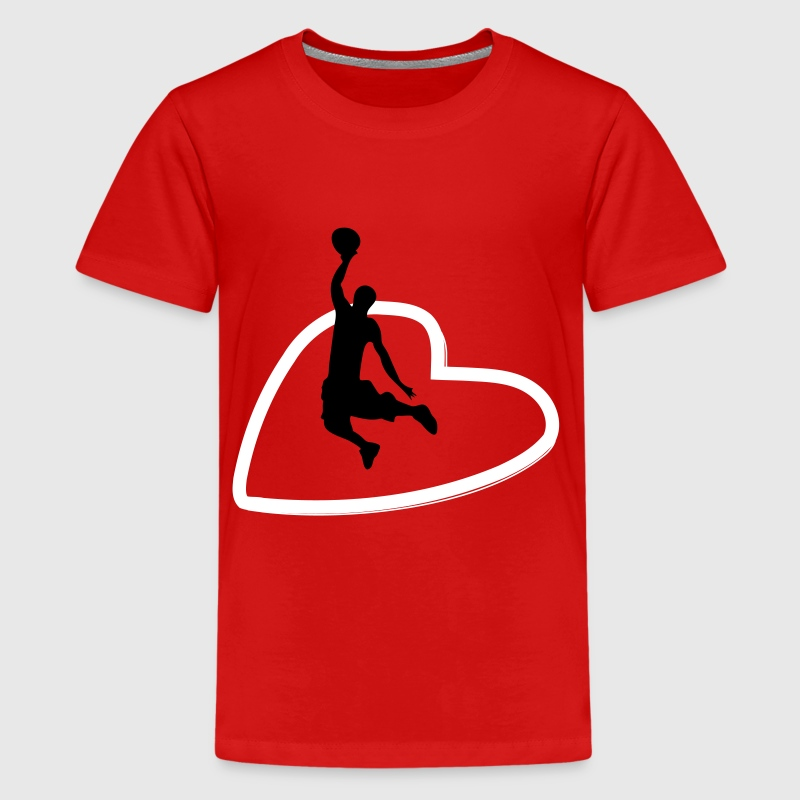 Basketbal speler hart - Teenager Premium T-shirt