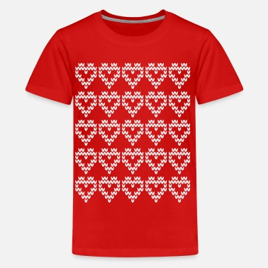 Pattern Hearts Pattern = Knitted Pattern = Hearts pattern - Teenage Premium T-Shirt