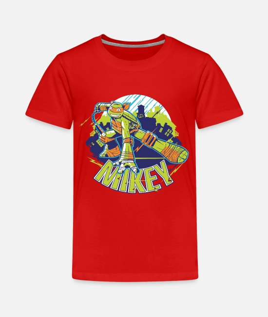 Martial Arts T-Shirts - TMNT Turtles Mikey With Nunchucks - Teenage Premium T-Shirt red