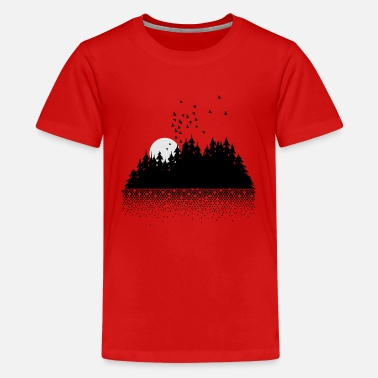 Nature Forest, lake, moon and birds - Teenage Premium T-Shirt