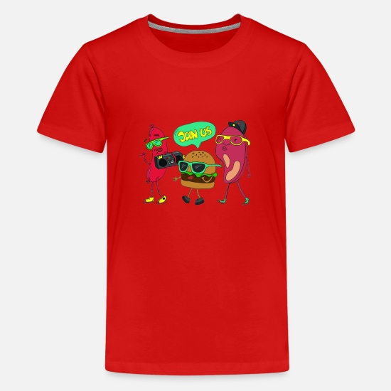 Pizza T-Shirts - Join us for a barbecue party - Teenage Premium T-Shirt red