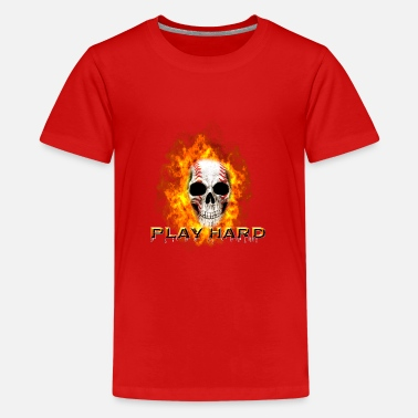 Skull Baseball Feuer Totenkopf Friend Dad Gift - Teenager Premium T-Shirt