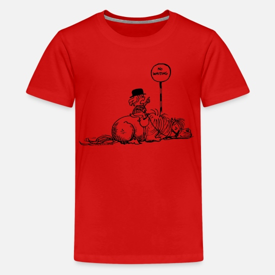 Norman T-Shirts - Thelwell 'No waiting' - Teenage Premium T-Shirt red