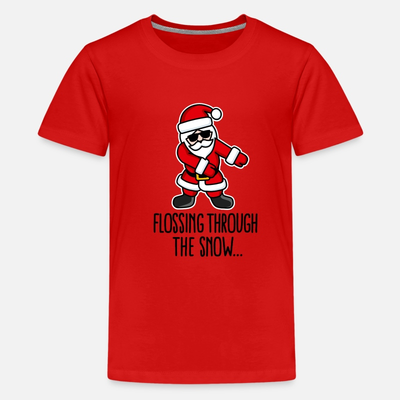 Hipster T-Shirts - Flossing through the snow Santa Floss like a boss - Teenager premium T-shirt rood