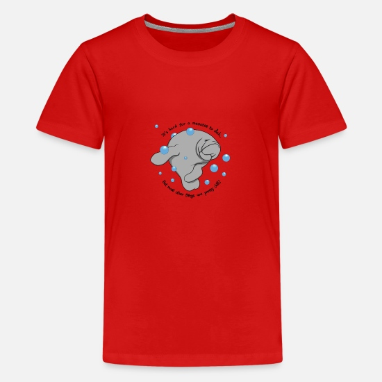 Manatee T-Shirts - Manatee Dab - Teenage Premium T-Shirt red
