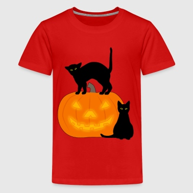 cat and pumpkin - Teenage Premium T-Shirt