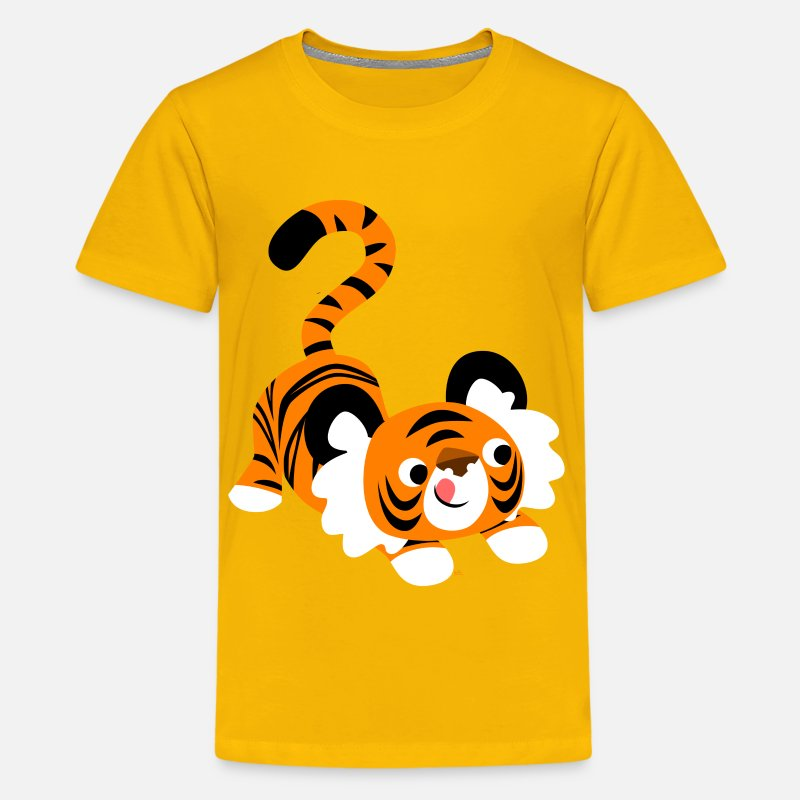 Pounce T-Shirts - Cute Cartoon Tiger Ready To Pounce!! by Cheerful Madness!! - Teenage Premium T-Shirt sun yellow