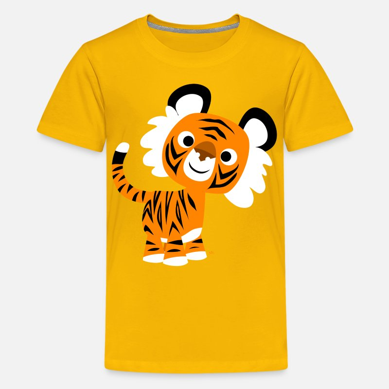 Art T-Shirts - Hello!! Cute Cartoon Tiger by Cheerful Madness!! - Teenage Premium T-Shirt sun yellow