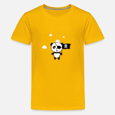 Panda Pirate Panda mit Flagge - Teenager Premium T-Shirt