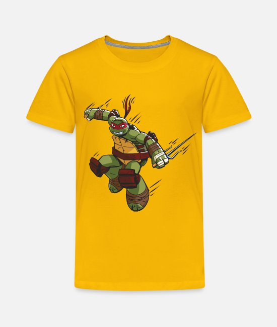 Martial Arts T-Shirts - TMNT Turtles Raphael Ready For Action - Teenage Premium T-Shirt sun yellow
