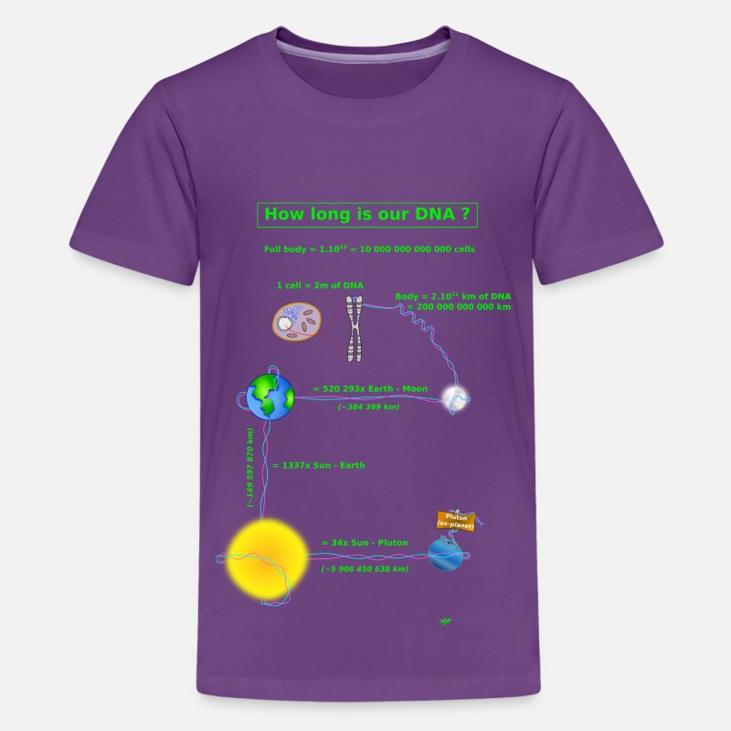 Science T-Shirts - DNA lenght - Teenage Premium T-Shirt purple