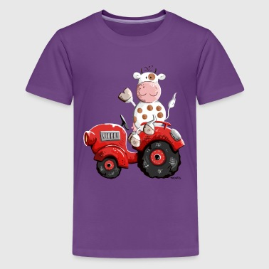 Cow drives a tractor - Teenage Premium T-Shirt