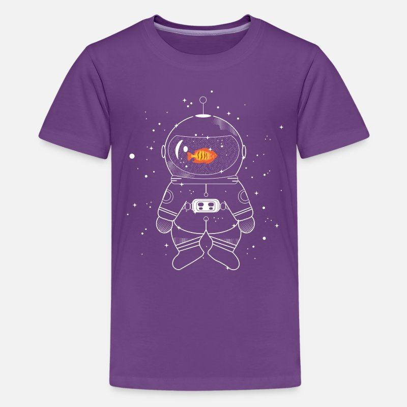 Bestsellers Q4 2018 T-Shirts - Astronaut with goldfish  - Teenage Premium T-Shirt purple