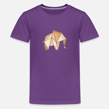 Pergament Origami: Elefant (Pergament-Optik) - Teenager Premium T-Shirt