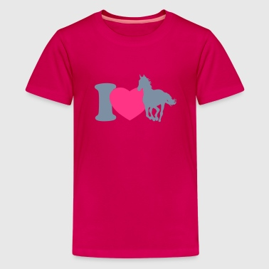 I love horses - Teenage Premium T-Shirt