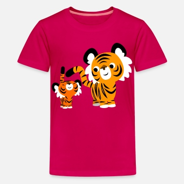 Family Cute Cartoon Small and Big Tigers by Cheerful Madness!! - Teenage Premium T-Shirt