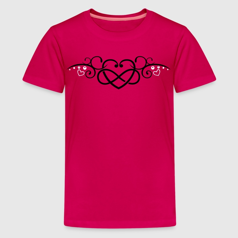 Heart with infinity symbol, Tribal & tattoo style - Teenage Premium T-Shirt