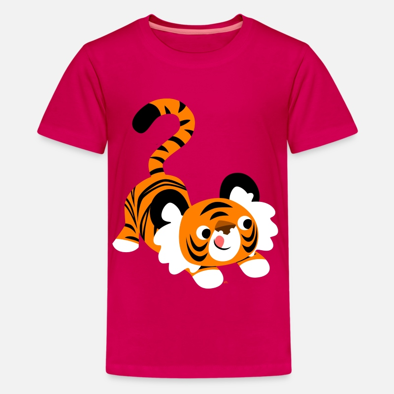 Pounce T-Shirts - Cute Cartoon Tiger Ready To Pounce!! by Cheerful Madness!! - Teenage Premium T-Shirt dark pink