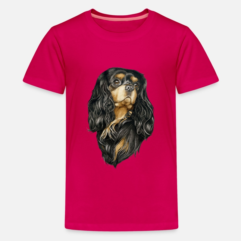 Charles T-Shirts - Black and Tan Cavalier - Teenager premium T-shirt donker roze