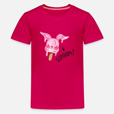 I Scream - Pink Ice Cream Bunny - T-shirt premium Ado
