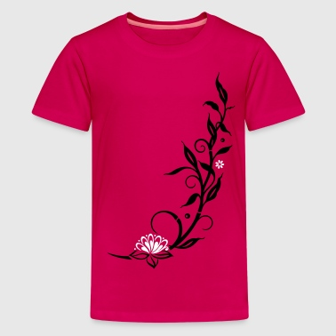 Bamboo with small blossoms and lotus flower. - Teenage Premium T-Shirt