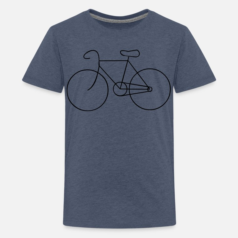 Fiets T-Shirts - bike cycle cycling logo sport bicycle - Teenager premium T-shirt heather blauw